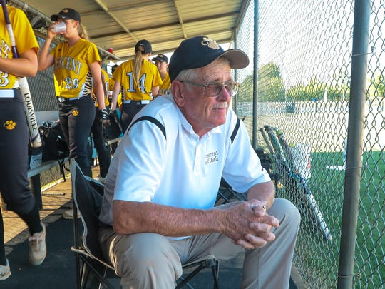 Gary Adams, Crescent High School softball coach, waits for the start of the Class AAA state championship game with Hanahan in Iva on Monday. Adams has over 1,000 wins, 31 straight region titles, 19 championships, and two National Coach of the Year awards since the team started in 1977 with a six-game season. The team now plays 30 game seasons.