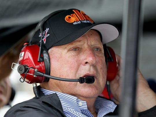 AJ Foyt looks on from his pit box during practice for