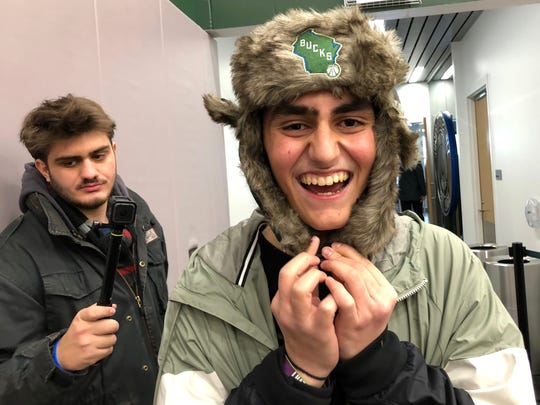 Dimitris Zamanis, a 15-year-old from Greece who has aplastic anemia, is all smiles at the Milwaukee Bucks' shootaround Tuesday morning as he spends time with his hero, Giannis Antetokounmpo, thanks to Make-A-Wish and the Bucks.