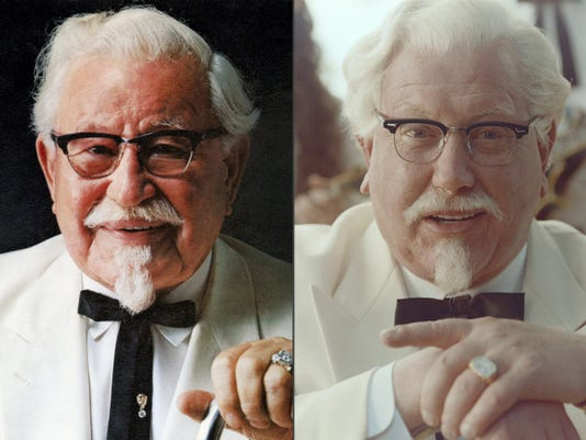 """This combination of images provided by KFC shows Colonel Harland Sanders, left, and """"Saturday Night Live"""" alum Darrell Hammond portraying Colonel Sanders in a new KFC television ad. The real Col. Harland Sanders died nearly 35 years ago, and KFC hasn't featured him in TV ads for about 20 years. (AP Photo/KFC)"""