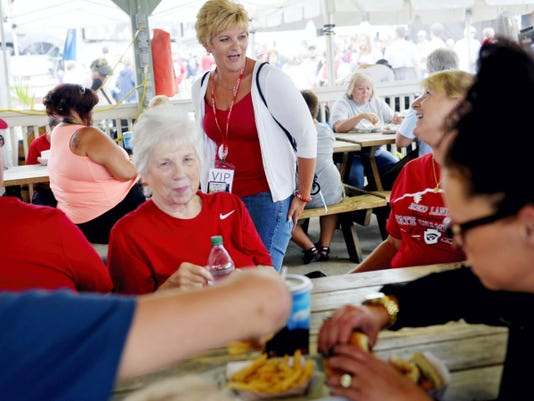 Denise Rodenhaber, center, of Newberry Township chats with her stepmother Susan Shellenberger of Carlisle on Wednesday before Red Land's Little League World Series game against Pearland, Texas, in South Williamsport. Rodenhaber is the mother of Red Land Little League player Dylan Rodenhaber.