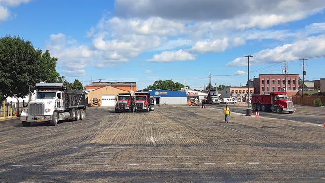 The parking lot behind the N. Dansville town hall looks bare here, but it'll be back to full use soon with a new coat of pavement, new lights and better drainage.