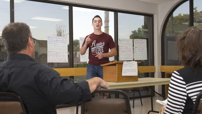 """James Owens, a new member of Las Cruces Toastmasters, gives his """"ice breaker"""" speech at a recent meeting."""