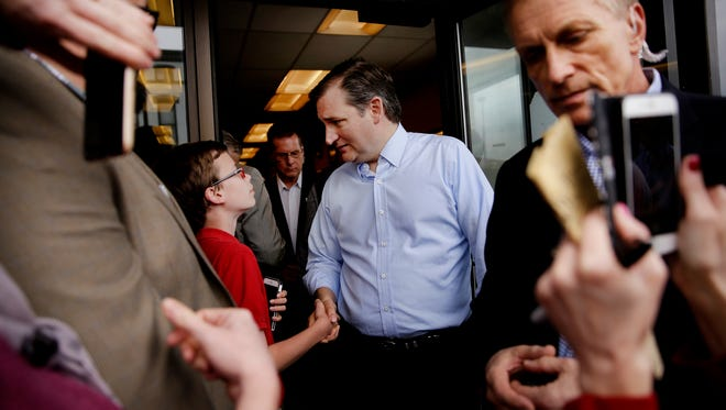 Republican presidential candidate Ted Cruz visits Shapiro's Delicatessen in Indianapolis on April 21, 2016.