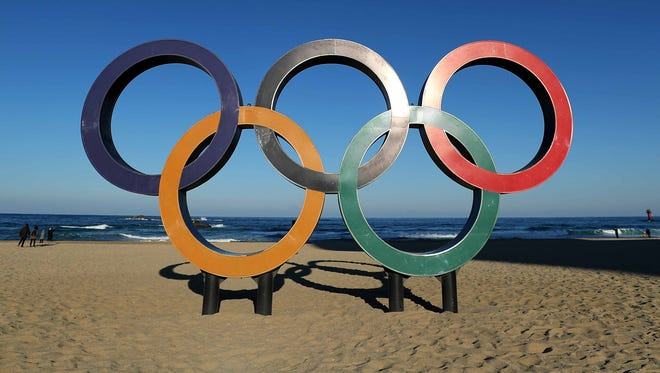 The Olympic Rings on the beach at Gangneung ahead of the Pyeongchang 2018 Winter Olympics.