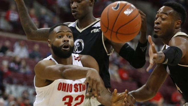 Ohio State Buckeyes guard Keyshawn Woods (32) passes during a men's basketball game between Ohio State and UNC Pembroke at Value City Arena on Thursday, November 1, 2018.