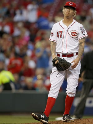 Cincinnati Reds starting pitcher John Lamb (47) reacts after giving up a two-run home run in the third inning to Los Angeles Dodgers third baseman Justin Turner (10) (not pictured) during the MLB game between the Cincinnati Reds and the Los Angeles Dodgers, Tuesday, Aug. 25, 2015, at Great American Ball park in Cincinnati, Ohio.