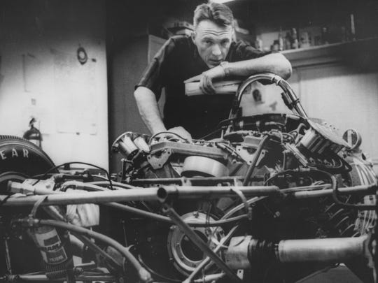Dan Gurney with his personally designed car which he drove in the 1968 Indianapolis 500.