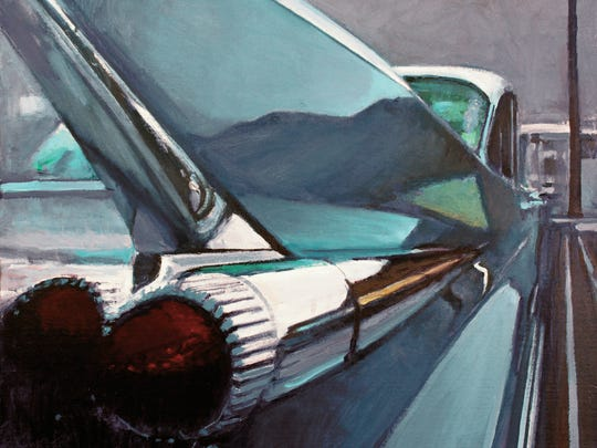"""""""Blue Fin"""" (2015) by Terry Masters. Masters' work will join that of Glen Wexler and Craig Deman in an exhibit Feb. 16 to March 12 at the Desertpainter Sudio Gallery in Palm Springs"""