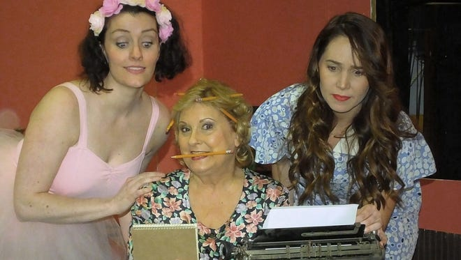 One of the many unusual hobbies of Penny Sycamore (Sue Chekaway, center) is that she writes plays she never seems to finish. Her doting daughters are Essie (Kathleen Duffy, left) and Alice (Carson Delaney, right).
