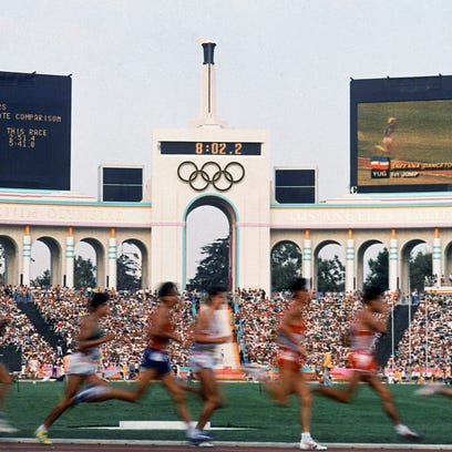 This Feb. 13, 2008, file photo shows the facade of The Los Angeles Memorial Coliseum in Los Angeles.