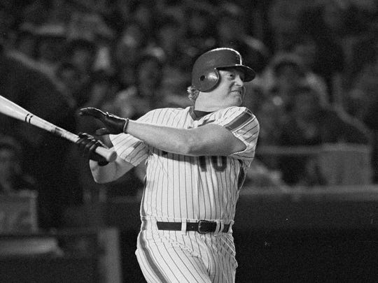 Rusty Staub, pinch hitting for the New York Mets, watches his sixth inning hit to right field against the Chicago Cubs at Shea Stadium, Tuesday, May 1, 1984, New York. One run scored on the hit and another on a throwing error as the Mets went on to a 7 run inning at night. The Mets beat the Cubs 8-1 to take first place in the National League Eastern Division. (AP Photo/Ron Frehm) ORG XMIT: APHS230557 [Via MerlinFTP Drop]
