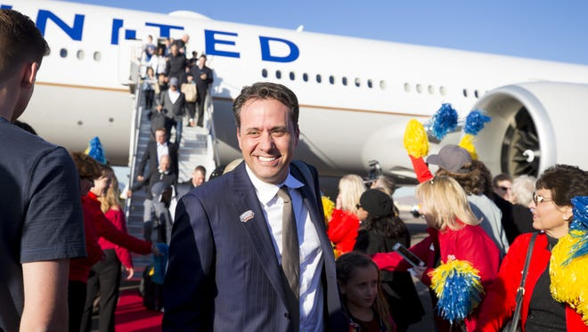 The UCLA Bruins interim head football coach, Jedd Fisch and his team arrive at Executive Terminal, Phoenix Sky Harbor International Airport on December 22, 2017. The Bruins are playing Kansas State Wildcats in the Cactus Bowl on 12/26.