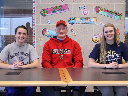 Pictured from left to right: Morgan Arden (basketball at Shepherd University), David Shaw (football at University of Maryland), Brooke Osborne (basketball at University of Pittsburg-Bradford)