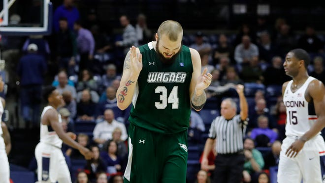 Wagner forward Mike Aaman reacts after a play  in the second half.