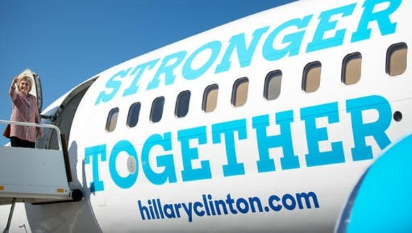 Democratic presidential candidate Hillary Clinton gives