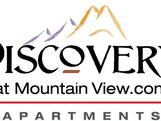 The logo for the Discovery at Mountain View apartment complex.
