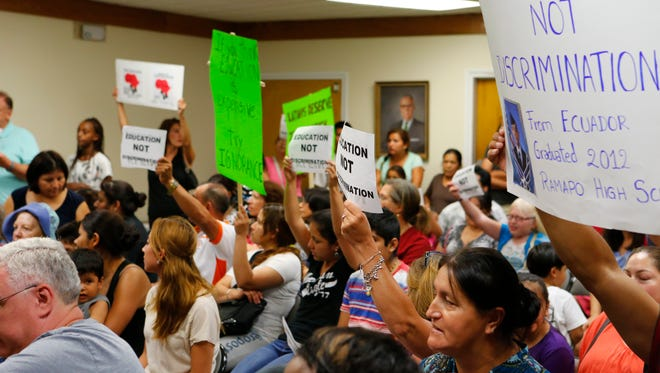 Protesters filled the East Ramapo Central School District Board of Education meeting at the district offices in Spring Valley on Sept. 2, 2014. The rally was in protest of remarks made by Superintendent Joel Klein at a previous meeting.