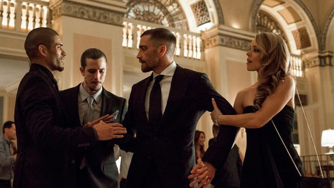 """Miguel Gomez, from left, Beau Knapp, Jake Gyllenhaal and Rachel McAdams are seen in """"Southpaw."""""""