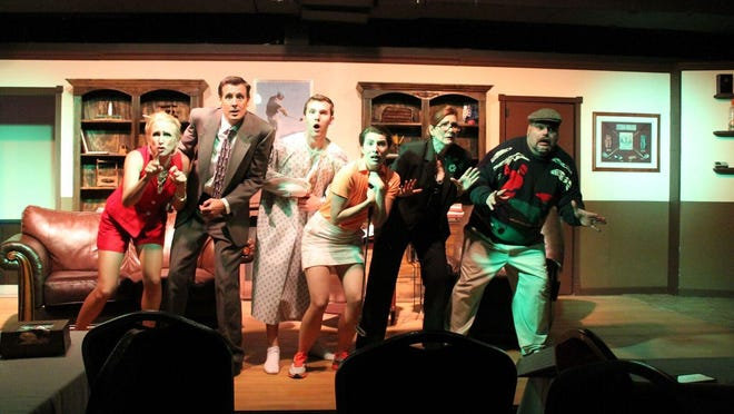 "Clove Creek's August production of ""The Fox on the Fairway,"" featuring Amber Mason, left to right, Scott Woolley, Austin Christensen, Anna Fagen, Christine Manning and Joe DeAngelo."