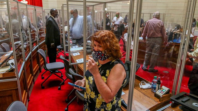 Rep. Mia Ackerman before session at a recent opening of the session in June.