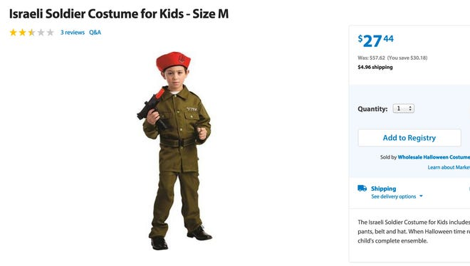 The costume, which was reduced to $27.44, is available online and comes equipped with an Israeli solider uniform, red hat and belt. A black gun can be purchased separately to complete the outfit shown in the advertisement.