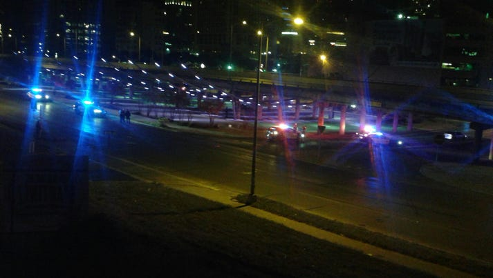 Police respond to downtown Austin, Texas, after a gunman
