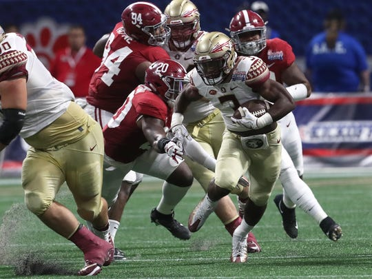 FSU running back Cam Akers led the Seminoles in rushing against Alabama.