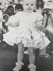 Ashley Cartwright, 21 months, daughter of Bert and Kim Cartwright of Morganfield, won in the 12-24 month category in Walmart's Baby Contest in March 1988. She received $15 for first place.
