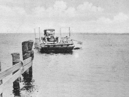 Auto Ferry across the St. Lucie River, 1910s.