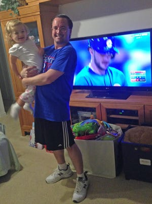 Isabella and I watch Game 7 of the World Series on Nov. 2 at home. We were all smiles in the fifth inning with the Cubs leading 4-1. Things got dicey late, and Isabella was asleep when the game ended, but the Cubs won the World Series.