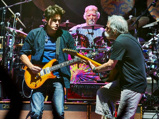 John Mayer, Bill Kreutzmann and Bob Weir of Dead & Company play during a concert at Madison Square Garden on Saturday, Oct. 31, 2015, in New York. (Photo by Robert Altman /Invision/AP) ORG XMIT: NYRA108