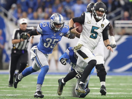 Lions safety Miles Killebrew chases down Jaguars quarterback Blake Bortles in the first half at Ford Field on Nov. 20, 2016 in Detroit.