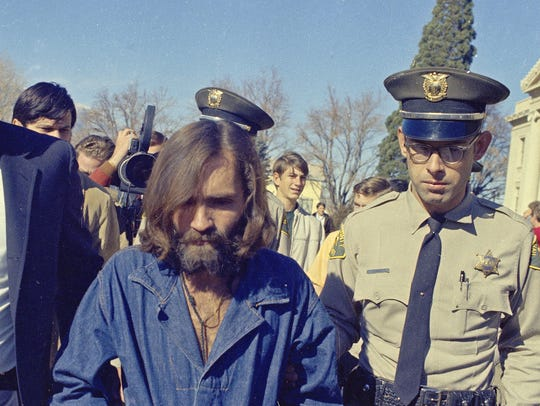 Charles Manson, who is linked to the Sharon Tate murders,