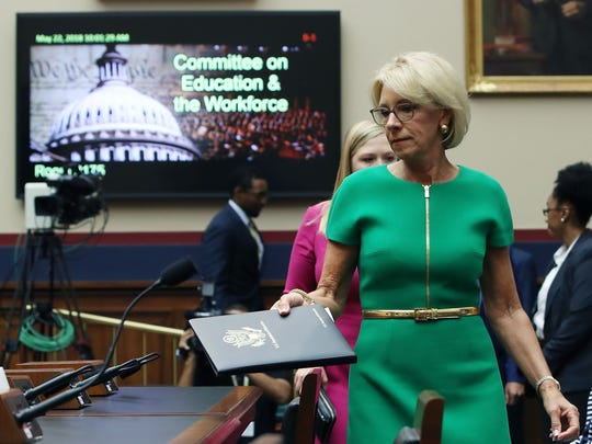 Education Secretary Betsy DeVos arrives to testify on Capitol Hill on May 22, 2018, in Washington.