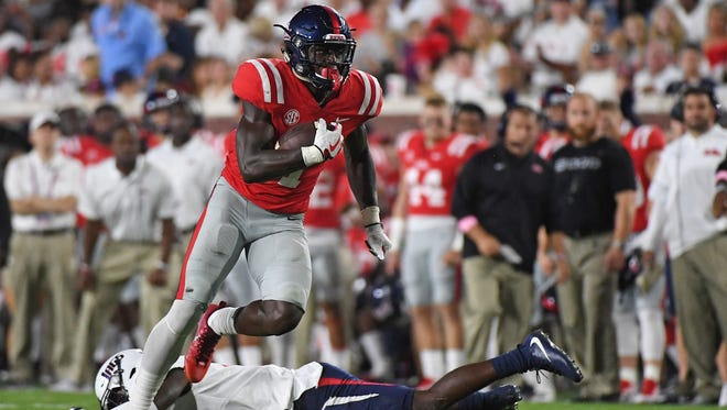 Ole Miss wide receiver A.J. Brown (1) posted a single-game school record 233 receiving yards Saturday night.