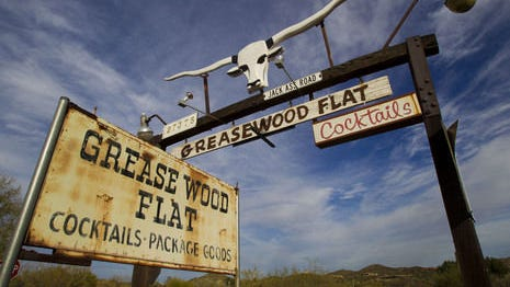 Exterior signage at Greasewood Flat saloon in Scottsdale