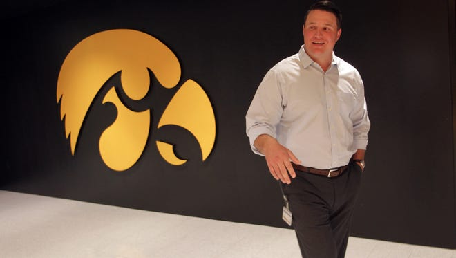 Iowa offensive line coach Brian Ferentz has become a fiery, respected voice inside Hawkeye circles. The 32-year-old son of the head coach has similar philosophies to his dad, 60.