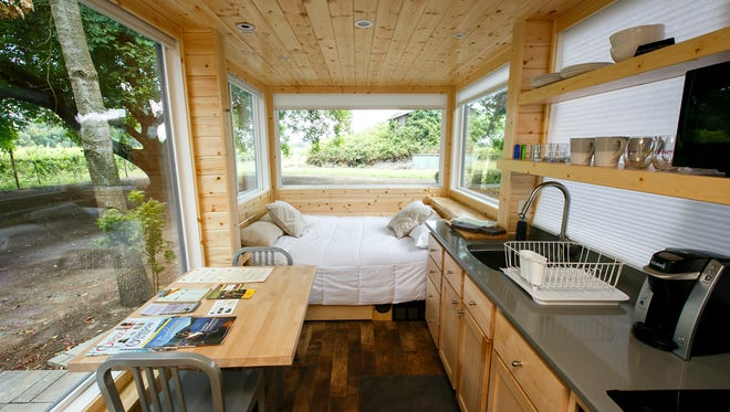 Arcane Cellars is now home to a tiny house for rent, located just behind the winery's tasting room. The 170-square-foot house features a full bathroom, queen bed and small kitchenette, and is parked next to a private patio with a propane fire pit.