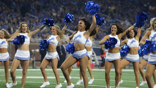 Detroit Lions cheerleaders perform during a time-out  Sunday, Oct. 16, 2016 at Ford Field in Detroit.
