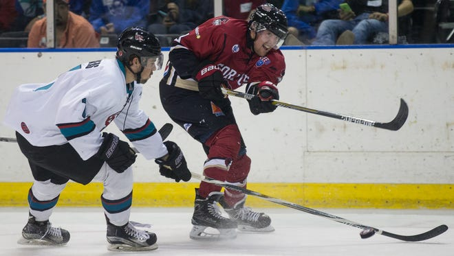 Ice Ray's Brad Powers takes a shot on goal during the first period of the team's game against Shreveport at the American Bank Center on Thursday, Oct. 27, 2016.
