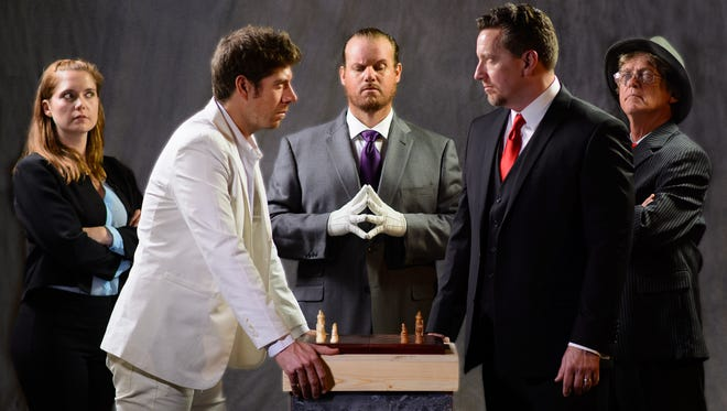 """The Conejo Players wraps up it's 2017 season with the musical """"Chess,"""" on stage through Dec. 17 in Thousand Oaks. Pictured, from left, are Randi Redman, Tanner Redman, Ryan Wooden, John Gaston and Gary Saxer."""