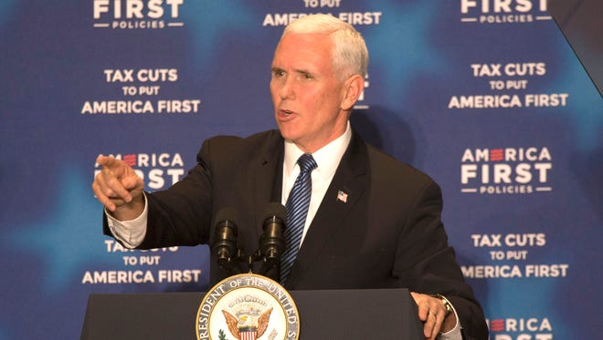 "Vice President Mike Pence speaks at the Westin Book Cadillac in Detroit during the ""Tax Cuts to Put America First"" tour hosted by America First Policies on Frida,y March 2, 2018."