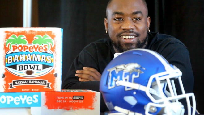 MTSU player TT Barber answers questions from the media during a press conference at the MTSU Hall of Fame, on Monday, Dec. 14, 2015, about the upcoming Popeyes Bahama Bowl.
