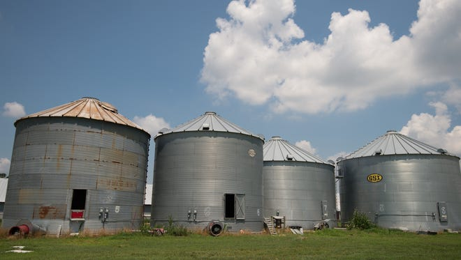 Grain silos at Baxter Farms Inc in Georgetown.