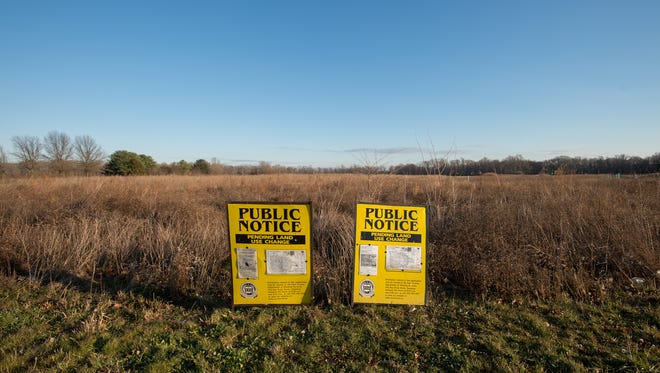 Public notice signs in front of the Auburn Meadows development in Smyrna.  Auburn Meadows is a planned unit development consisting of 262 age restrictive homes.