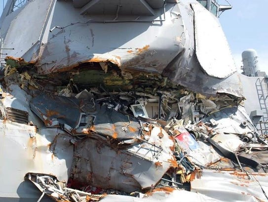 Commanding Officer Bryce Benson, a Green Bay native was sleeping in his stateroom when his ship collided with a merchant vessel off Japan in June 2017. The point of impact, shown here, was directly on his stateroom.