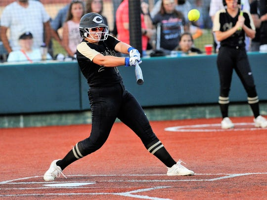 Clyde's Peyton Lee (20) hits a single to lead off the top of the seventh inning against Brock in Game 1 of the Region I-3A final. Lee was named to the TGCA Class 3A all-state team along with teammate Kaitlyn Turner.