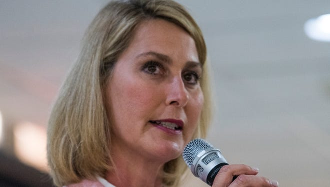 District Five incumbant Melissa Snowden speaks during the Montgomery Coiunty School Board of Education meet the candidates forum in Montgomery, Ala. on Tuesday May 1, 2018.