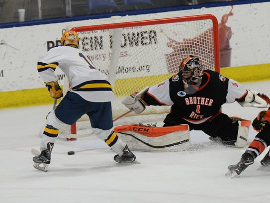 Brother Rice goalie Pierce Cadieux managed to stop